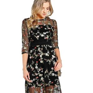Women's A Line Floral Embroidered Evening Dress